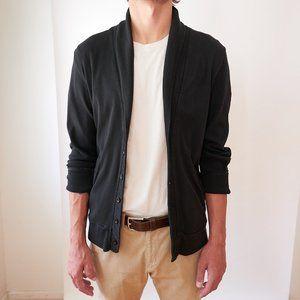 Black cowl-neck cardigan